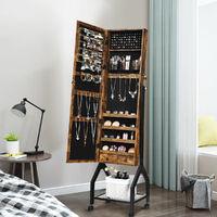 Rolling Jewelry Cabinet Floor Standing Storage Organizer w/ Mirror & Shelf