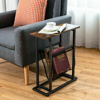 2-Tier Narrow End Sofa Side Table Industrial Coffee Snack Table Laptop Stand