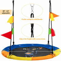 Saucer Tree Swing 100cm Round Monkey Nest Swing Seat W/ Heights Adjustable Rope