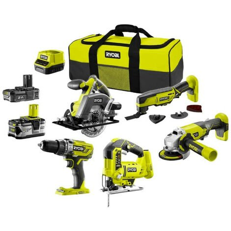Pack RYOBI complet 5 outils - 2 batteries 2.0Ah et 4.0Ah - 1 chargeur - R18CK5A-242S