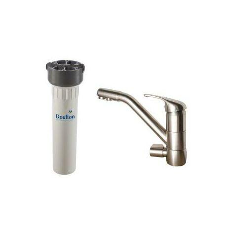 Purificateur d'eau Doulton hip 3020 et robinet mitigeur 3 voies classique brossé
