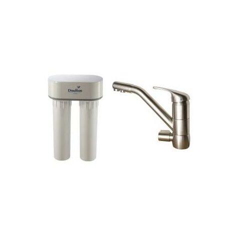 Purificateur d'eau Doulton duo calcaire 3072 et robinet mitigeur 3 voies classique brossé