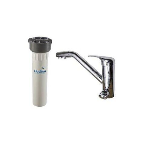 Purificateur d'eau Doulton HIP 3020 et robinet mitigeur 3 voies classique Inox brillant