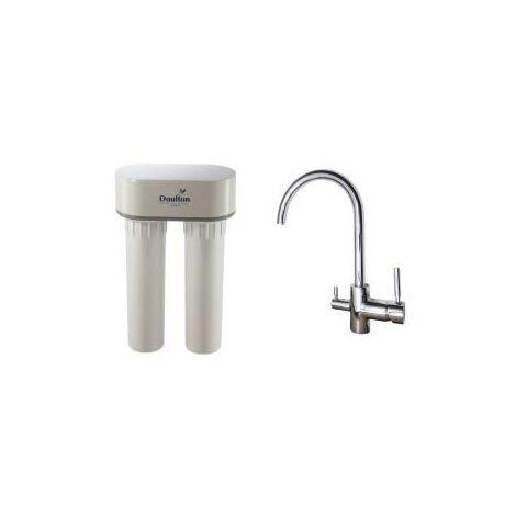 Purificateur d'eau Doulton DUO Anti-Nitrate 3079 avec robinet mitigeur 3 voies Inox brillant