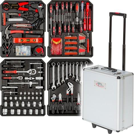 Mallette à outils Trolley, Boite à Outils, Valise à outils, Aluminium 416 Pièces TECTAKE