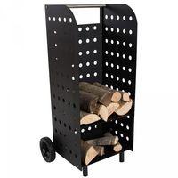 Chariot à bûches, Chariot à bois, Panier en métal, Porte et Range bûche sur roulette TECTAKE
