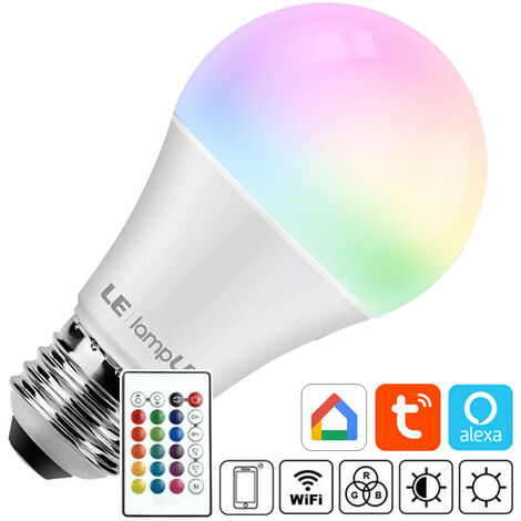Bombilla LED E27, 10W, RGB+W + mando a distancia, RGB + Blanco frío, regulable - RGB + Blanco frío