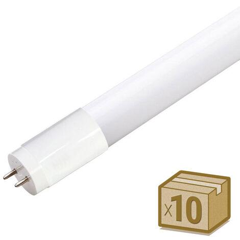 Pack 10 Tubos LED T8 SMD2835 Epistar Cristal - 18W - 120cm, Conexión dos Laterales, Blanco cálido - Blanco cálido