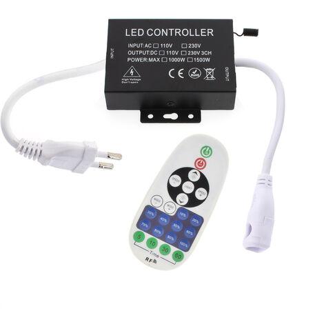 Controlador dimmer RF tira led 220V monocolor 1500W, 6x14mm, conectores rápidos
