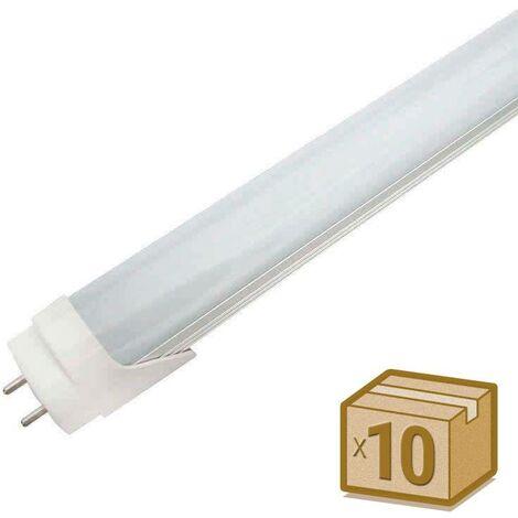 Pack 10 Tubos LED T8 SMD2835 Epistar - Aluminio - 18W - 120cm, Conexión dos Laterales, Blanco cálido - Blanco cálido