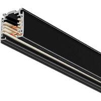Carril trifásico con conector, 1 metro, negro