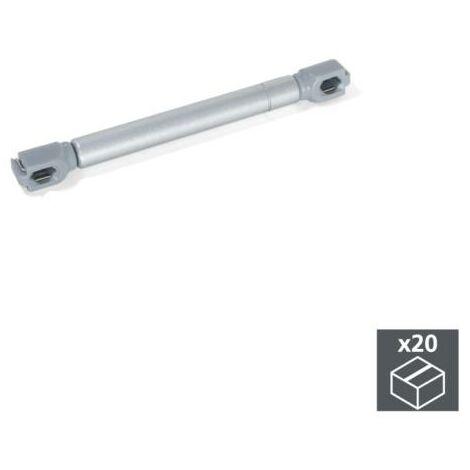 Emuca Pistón a gas para puertas abatibles, fuerza 12 kg, recorrido 80 mm, Gris metalizado, 20 ud. - talla