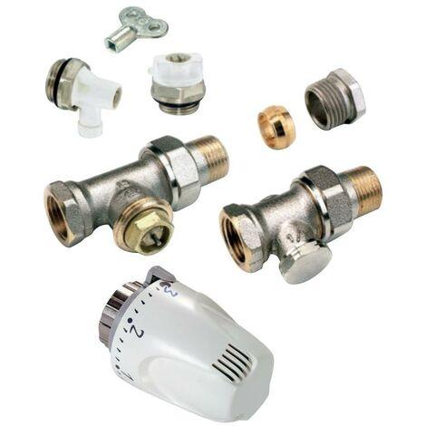"""COMAP Kit thermostatique droit 1/2"""" (15x21) - Inclus robinet, tête thermostatique, raccord de réglage, purgeurs, clé - VMP05A19"""
