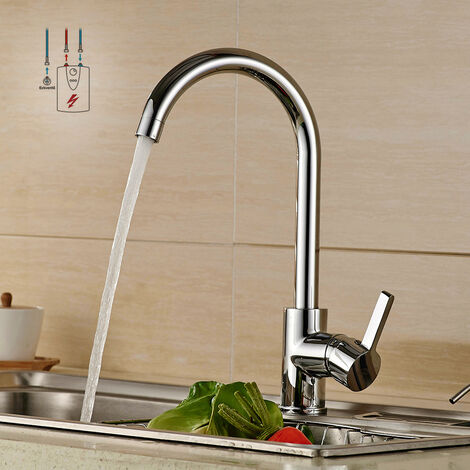 Auralum Niederdruck Wasserhahn Küche | Küchenarmatur Chrom Niederdruckarmatur Spültischarmatur | Einhebelmischer Küche Spültisch Mischbatterie