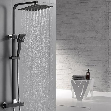 Auralum  Schwarz Regendusche mit Thermostat Duscharmaturen Set Duschset Brausethermostat Duschsystem Duscharmatur Kupfer