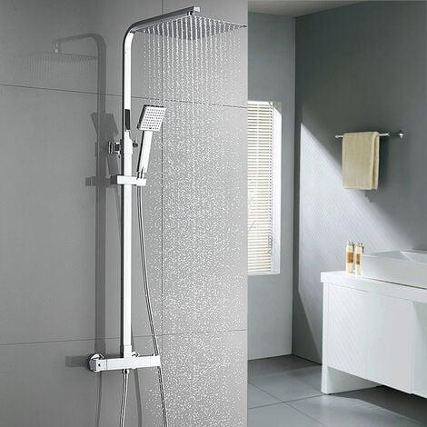 Auralum  Regendusche mit Thermostat Duscharmaturen Set Duschset Brausethermostat Duschsystem Duscharmatur Kupfer