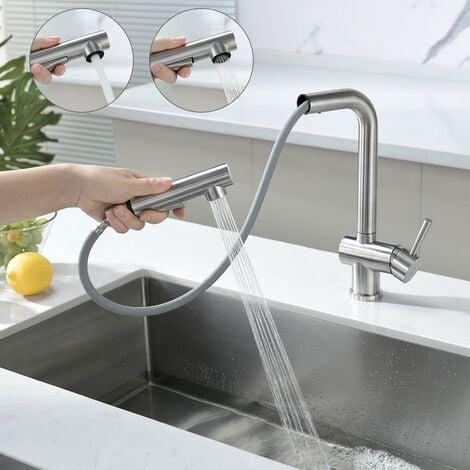 Auralum Wasserhahn Küche Küchenarmatur Armatur Spüle Spültischarmatur Mischbatterie Spiralfederarmatur Schwarz