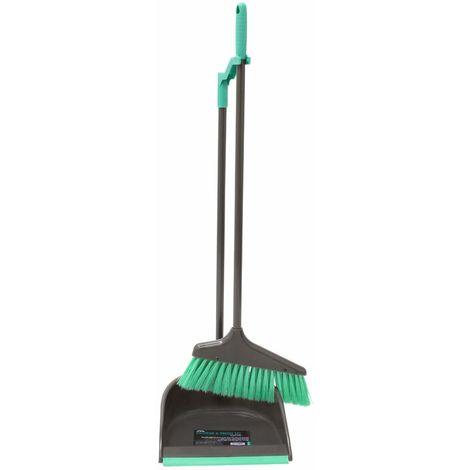 JVL Long Handle Dustpan and Bristle Brush Set, Grey