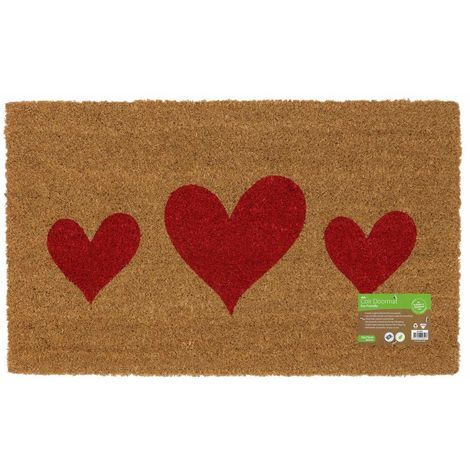 Eco-Friendly Placement Latex Backed Coir Entrance Door Mat, Hearts Design