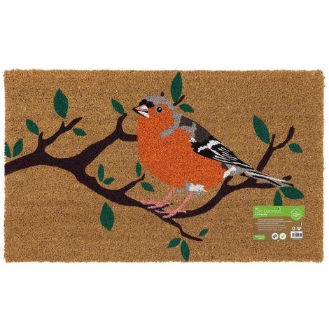 Eco-Friendly Animal Latex Backed Coir Entrance Door Mat, Bird Design