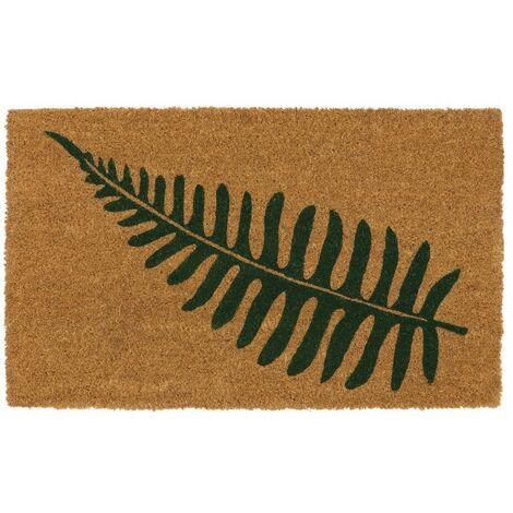 Eco-Friendly Placement Latex Backed Coir Entrance Door Mat, Leaf Design