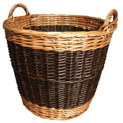 JVL Two Tone Willow Wicker Log Basket, Large