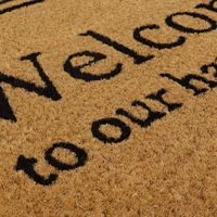 Eco-Friendly Expression Latex Backed Coir Entrance Door Mat, Happy Place Design