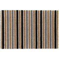 Eco-Friendly Pattern Latex Backed Coir Entrance Door Mat, Grey Stripe Design