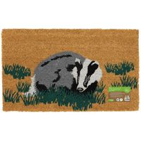 Eco-Friendly Animal Latex Backed Coir Entrance Door Mat, Badger Design