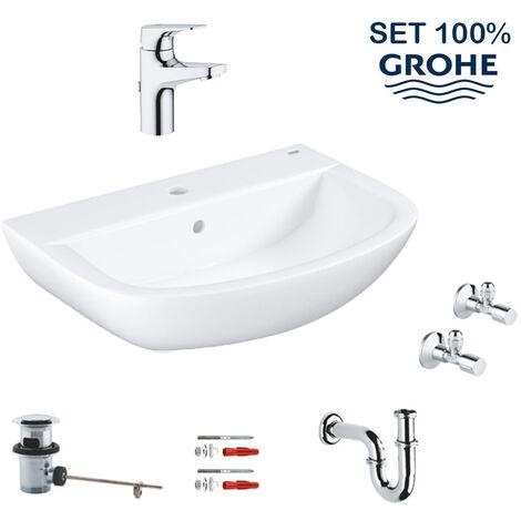 Grohe Bau Ceramic set lavabo suspendu 60 cm + mitigeur monocommande + siphon + robinet d'équerre (LAVABOMITIGEURGROHE)