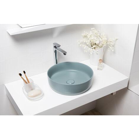 Swiss Aqua Technologies Vasque à poser Infinitio 39 x 39 x 12 cm sans trop-plein, vert mat (SATINF3939LGEM)