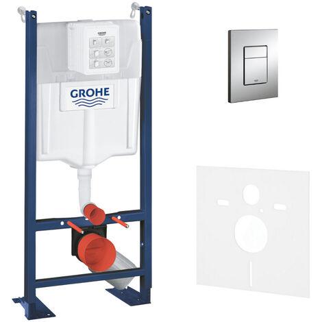 Grohe Pack WC Bâti autoportant Rapid SL avec Plaque Skate Cosmopolitan chromée et Set d'isolation phonique (39145000-1)