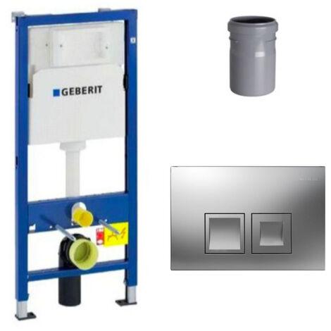 Geberit Ensemble bâti-support Duofix UP100 + réservoir pour WC 112 cm + Plaque DELTA50 + Manchon de raccordement (458.103.00.1-2)