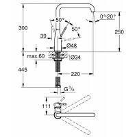 Grohe Essence Mitigeur monocommande Evier Hard Graphite brossé (30269AL0)