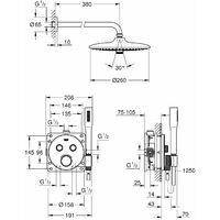 Grohe Grohtherm SmartControl Set de douche 260 mm (34744000)