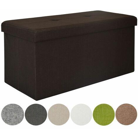 DuneDesig Arcón de almacenaje 80L con Banco 76x38x38cm plegable Marrón