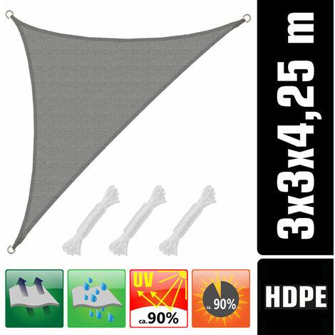 Toldo UV HDPE 3x3x4,25 Vela de Protección Solar Triangular Techo Balcón Gris