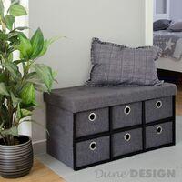 DuneDesign Otomana Cómoda plegable 76x38x38cm con 6 cajones 80L pie de cama escabel rectangular sofá de dos plazas forrado con tela Gris Oscuro