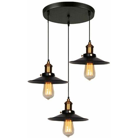 Suspension industrielle vintage luminaire en métal fer , rétro lustre lampe plafonnier corde ajustable pour cuisine salle à manger salon bar