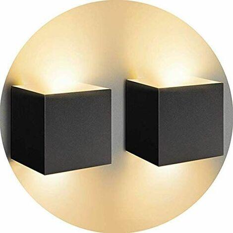 Lot de 2 Led Applique murale 7W chambre Moderne Interieur, Up and Down Design Réglable Lampe, Aluminium luminaires applique murale led Noir pour Chambre Maison Couloir Salon (Blanc Chaud )