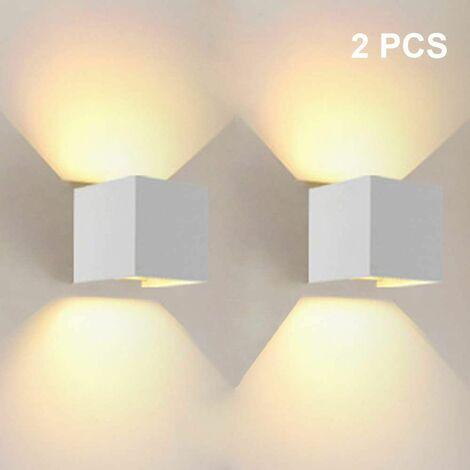 12W LED Applique Murale Interieur Up and Down Lampe murale Blanc Chaud, Angle de Faisceau Réglable pour Maison,Couloir Salon,Chambre à Coucher ( 2 PCS, Blanc)