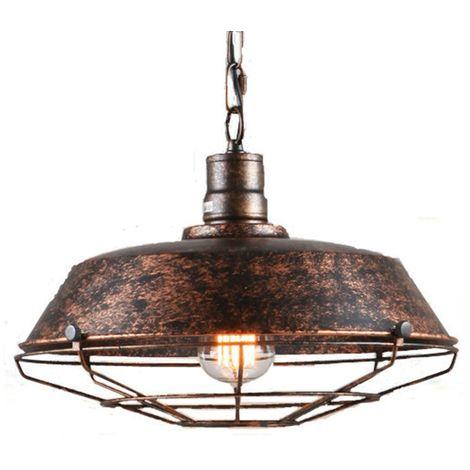 Rétro Metal Suspension Industriel Vintage 360mm Luminaire Métal Antique Edison Culot E27 Plafonnier Luminaire Rouille