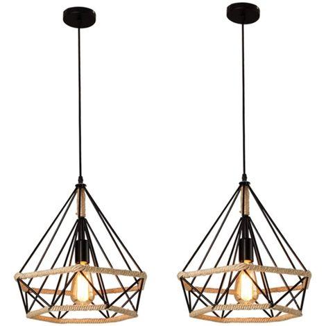 2x Corde de chanvre Cage Lampe de Plafond,Lustre Suspension Industrielle 25cm en forme Diamant Corde de Chanvre Noir