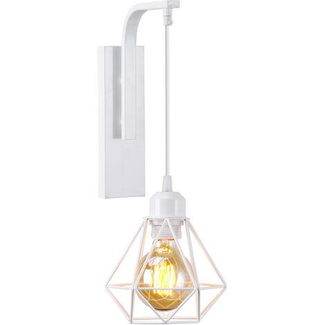 Applique murale luminaire vintage design rétro en fer bois E27 lustre suspension éclairage intérieur salon chambre cuisine blanc