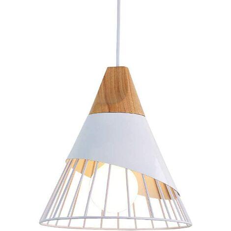 Rétro Metal Suspension en Métal Cage E27 Eclairage de Plafond , Industrielle Lustre Lampe Vintage Pendante Lumière Plafonnier Blanc
