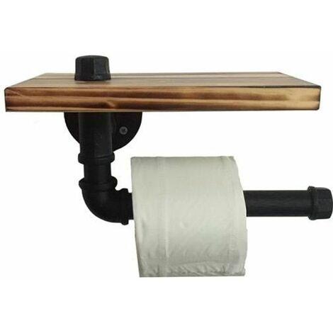 Porte-rouleau en Papier Toilette Design Rétro Métal Tube Étagère Ensemble de Rangement avec Plateau en bois Noir