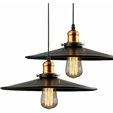 36cm E27 Suspension Industrielle Rétro Lustre Abat-Jour Noir Lampe de Plafond Luminaire pour Salon Cuisine Bar