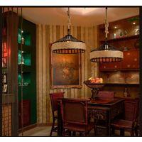 Retro Suspension Luminaire Industriel 40cm Noir , La lumière au plafond en fer Corde de chanvre Vintage Loft Lustre Plafonnier Décoration pour Salon, Cuisine, Restaurant, Bar