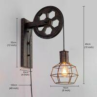 Applique Creative style industriel rétro lampe de mur Loft style levage poulie lumière canal couloir mur lampe