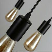 Lustre Suspension Araignee E27 Douille Rétro Industriel abat-jour Noir, DIY Ajustable Longueur avec 1.5m Fil, 3 bras (pas d'ampoule)